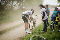 for many riders racing is regulalrly halted by by flat tire over the Breton gravel roads<br /> <br /> 36th TRO BRO LEON 2019 (FRA)<br /> One day race from Plouguerneau to Lannilis (205km)<br /> <br /> ©kramon