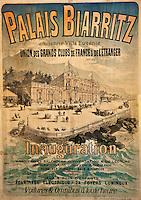 Europe/France/Aquitaine/64/Pyrénées-Atlantiques/Pays-Basque/Biarritz:  L' Hôtel du Palais  ou  Villa Eugénie - Vieille affiche [Non destiné à un usage publicitaire - Not intended for an advertising use]