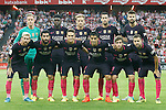 FC Barcelona's team photo with Marc-Andre Ter Stegen, Samuel Umtiti, Ivan Rakitic, Sergio Busquets, Gerard Pique, Leo Messi, Arda Turan, Denis Suarez, Luis Suarez, Sergi Roberto and Jordi Alba during La Liga match. August 28,2016. (ALTERPHOTOS/Acero)