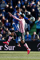 26th January 2020; Coliseum Alfonso Perez, Madrid, Spain; La Liga Football, Club Getafe Club de Futbol versus Real Betis; Jaime Mata (Getafe CF) wins the header over Nabil Fekir (Betis)