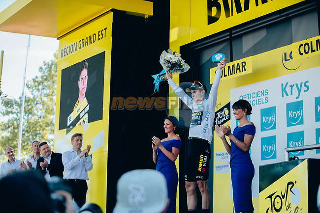 Wout Van Aert (BEL) Team Jumbo-Visma retains the young riders White Jersey at the end of Stage 5 of the 2019 Tour de France running 175.5km from Saint-Die-des-Vosges to Colmar, France. 10th July 2019.<br /> Picture: ASO/Thomas Maheux | Cyclefile<br /> All photos usage must carry mandatory copyright credit (© Cyclefile | ASO/Thomas Maheux)