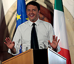 Italian Prime Minister Matteo Renzi speaks during a convention about region and Europe at Castel Presule, in Fiè allo Sciliar- Völs am Schlern, on July 5, 2014.