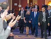 Prime Minister Benjamin Netanyahu of Israel and his wife, Sara, arrive at the 2015 Jewish Federations of North America General Assembly at the Washington Hilton Hotel in Washington, DC on Tuesday, November 10, 2015.<br /> Credit: Ron Sachs / CNP