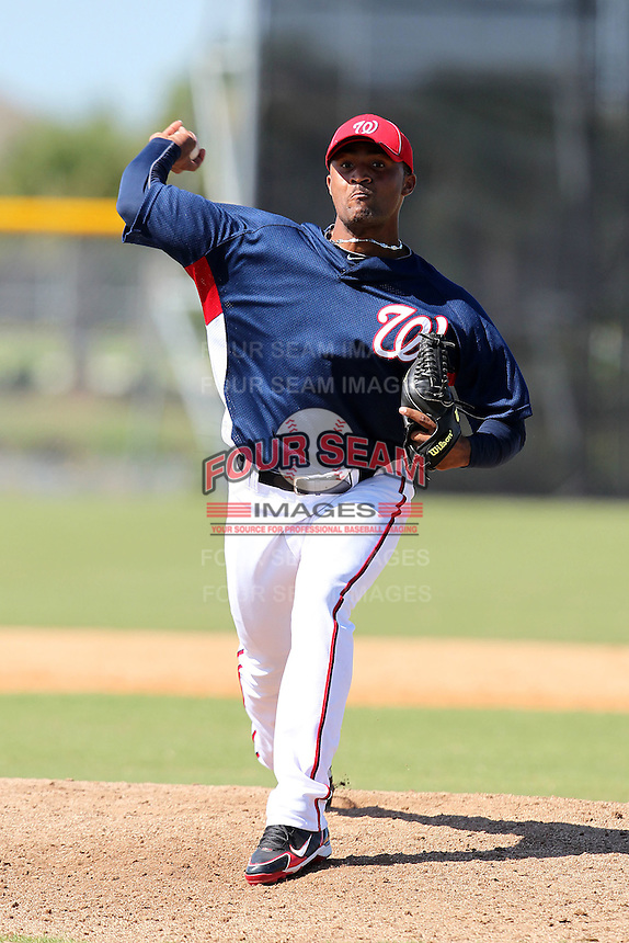 Washington Nationals pitcher Elvin Ramirez #32 during an Instructional League game against the national team from Italy at Carl Barger Training Complex on September 28, 2011 in Viera, Florida.  (Mike Janes/Four Seam Images)