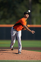 Frederick Keys starting pitcher Ofelky Peralta (26) delivers a pitch to the plate against the Buies Creek Astros at Jim Perry Stadium on April 28, 2018 in Buies Creek, North Carolina. The Astros defeated the Keys 9-4.  (Brian Westerholt/Four Seam Images)