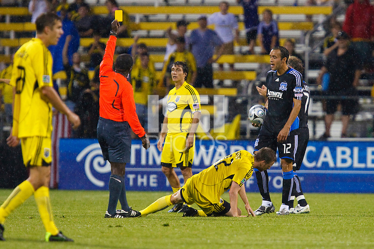 27 MAY 2009: #12 Ramiro Corrales of the San Jose Earthquakes receives a yellow card in action during the San Jose Earthquakes at Columbus Crew MLS game in Columbus, Ohio on May 27, 2009.