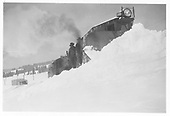 RGS plow-flanger #02 with leased D&amp;RGW K-27 #462 on rescue effort to reach stranded Goose.<br /> RGS  Lizard Head Pass, CO  3/1944