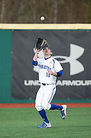 Seton Hall Pirates left fielder Zack Weigel (14) catches a fly ball during the game against the Cornell Big Red at The Ripken Experience on February 27, 2015 in Myrtle Beach, South Carolina.  The Pirates defeated the Big Red 3-0.  (Brian Westerholt/Four Seam Images)