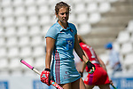 GER - Mannheim, Germany, May 05: During the women field hockey 1. Bundesliga match between Mannheimer HC (red) and Uhlenhorster HC Hamburg (light blue) on May 5, 2018 at Am Neckarkanal in Mannheim, Germany. Final score 1-3. (Photo by Dirk Markgraf / www.265-images.com) *** Local caption *** Marie Maevers #23 of Uhlenhorster HC Hamburg