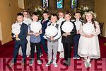 Pupils from Scoil an Fheirtéaraigh Sean Dalby, Jim Ó Laoithe, Cillian Ó Dalaigh, Fionn Ó Fearghail, Samuel Ó Duinnshléibhe Ó Laoghaire, Sean Ó hAllarain, Ciara Ní Chualain, Caitlin Ní Laoghaire, Órlaith Ní Chuinn the day of their First Communion at Séipéal Uinseann Naofa, Baile an Fheirtéaraigh, on Saturday.