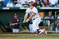 Indiana Hoosiers first baseman Sam Travis (6) heads to first base against the Mississippi State Bulldogs during Game 6 of the 2013 Men's College World Series on June 17, 2013 at TD Ameritrade Park in Omaha, Nebraska. The Bulldogs defeated Hoosiers 5-4. (Andrew Woolley/Four Seam Images)