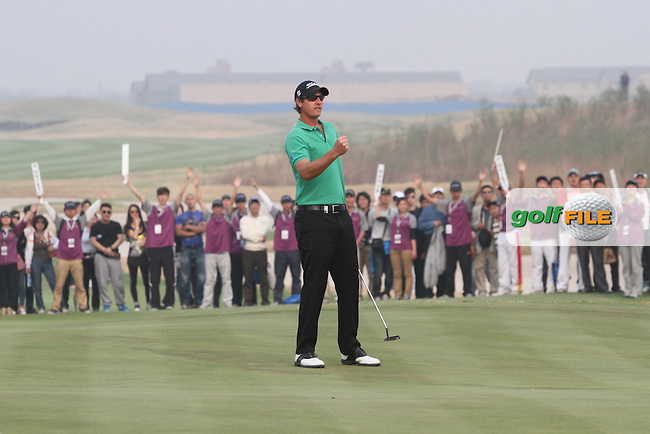 Nicolas Colsaerts (BEL) on the 18th on the Final Day of the 2012 Volvo China Open at Binhai Lake Golf Club, Tianjin, China...(Photo Jenny Matthews/www.golffile.ie)