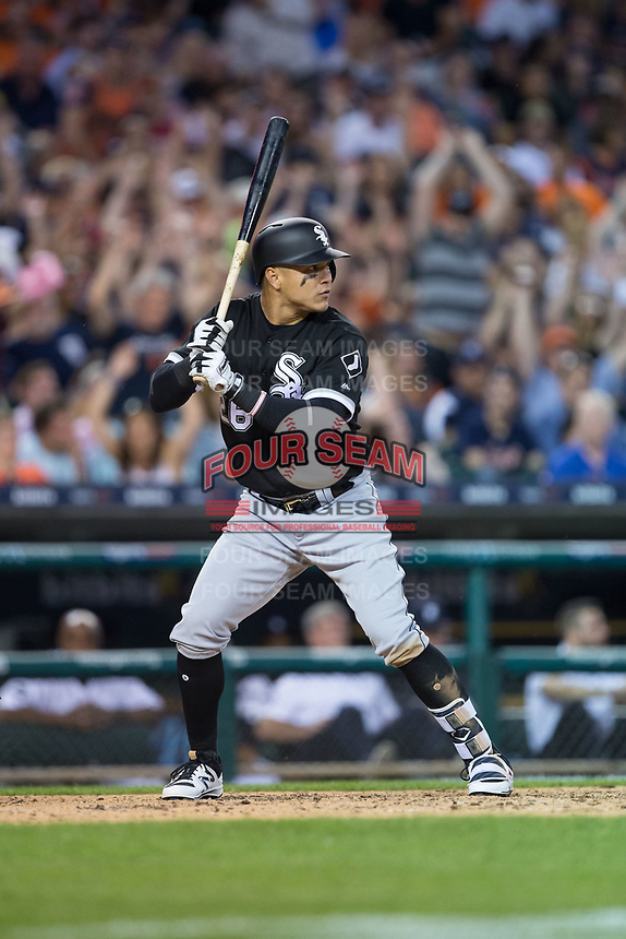 Avisail Garcia (26) of the Chicago White Sox at bat against the Detroit Tigersq at Comerica Park on June 2, 2017 in Detroit, Michigan.  The Tigers defeated the White Sox 15-5.  (Brian Westerholt/Four Seam Images)