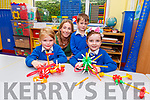 Junior infants, Naomi O'Neill, Christian Warton and Molly Teahan with their teacher Caroline Cronin in Kiltallagh NS