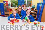Junior infants, Naomi O'Neill, Christian Warton and Molly Teahan with their teacher Caroline Cronin in Kiltallagh NS