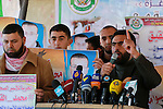 Mushir Al Masri, a Hamas MP and media spokesman speaks during a protest to show solidarity with a Palestinian journalist Mohammed al-Qiq who is imprisoned in an Israeli jail at the Erez crossing checkpoint in the northern Gaza Strip on Feb. 04, 2016. Qiq is being held under Israel's controversial administrative detention law, which allows the state to hold suspects for renewable six-month periods without trial and he has been refusing food since November 25 in protest against the ''torture and ill treatment that he was subjected to during interrogation'', according to Addameer, a Palestinian human rights organisation. Photo by Yasser Qudih