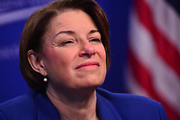 Washington, DC - March 5, 2019: U.S. Senator Amy Klobuchar participates in a discussion about the affects of economic power at the Center for American Progress in Washington, D.C. March 5, 2019.  (Photo by Don Baxter/Media Images International)