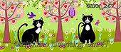 Kate, CUTE ANIMALS, LUSTIGE TIERE, ANIMALITOS DIVERTIDOS, paintings+++++Enchanted wood cats,GBKM267,#ac#, EVERYDAY ,cat,cats