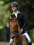 Spain's jockey Carlos Lopez-Fanjul with the horse Elixir ST during 102 International Show Jumping Horse Riding, King's College Trophy. May, 20, 2012. (ALTERPHOTOS/Acero)