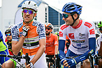 Salmon Jersey Sindre Skjostad Lunke Team Fortuneo-Samsic and White Jersey Markus Hoelgaard Joker Icopal wait for the start of Stage 3 of the 2018 Artic Race of Norway, running 194km from Honningsvg to Hammerfest, Norway. 18th August 2018. <br /> <br /> Picture: ASO/Pauline Ballet | Cyclefile<br /> All photos usage must carry mandatory copyright credit (© Cyclefile | ASO/Pauline Ballet)
