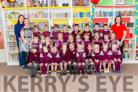 First day of school for Junior Infants front l-r  Sarah Hristea, Faela Falvey, Cormac Breen, Chloe OSullivan, Conor Clifford, Finn Cronin, Emily Baggi, James McGregor, Sadhbh  Coffey and Orla Daly, centre l-r Dara O Brien, Aideen Collins, Chloe Nott, Viktoria Starykova, Kate Doyle, Belle Fogarty, Dawn o Meara, Donna Casey, Conor Brosnan and Sally Scroope, back l-r Joshua Flynn, Liam Myers, Leon o Sullivan, Conor Lucey, Luke O Donnell, Billy Brosnan, Jack Hartnett and Alex Hayes pictured with SNA Aoife (front left), Teachers Ms. Lynch (back left) and miss Hallissey (back right) at the Fossa NS last Monday.