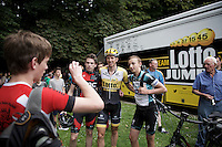 Sep Vanmarcke (BEL/LottoNL-Jumbo) posing with fans before the start<br /> <br /> Belgian Championships 2015
