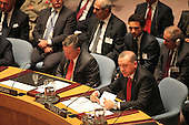 King Abdullah II of Jordan, left,  listens as President Recep Tayyip Erdogan of Turkey, right, makes remarks at the United Nations Security Council summit cracking down on foreign terrorist fighters at the U.N. 69th General Assembly in New York, New York on Wednesday, September 24, 2014.  <br /> Credit: Allan Tannenbaum / Pool via CNP