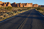 Rock walls along the road through Arches National Park, Utah, USA