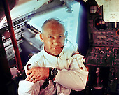 In Lunar Orbit - (FILE) -- This interior view of the Apollo 11 Lunar Module Eagle shows Astronaut Edwin E. Aldrin, Jr., lunar module pilot, during the lunar landing mission. This picture was taken by Astronaut Neil A. Armstrong, commander, prior to the moon landing on Sunday, July 20, 1969...Credit: NASA via CNP