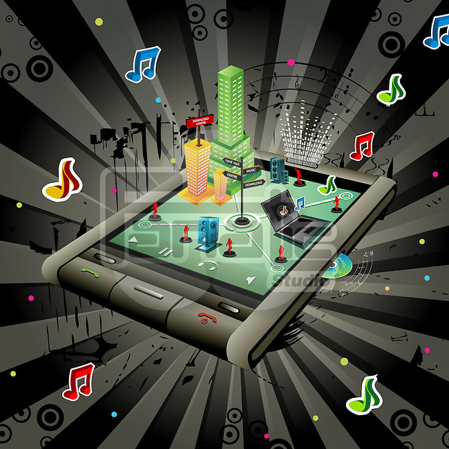 Illustrative representation showing the use of a mobile phone as music player