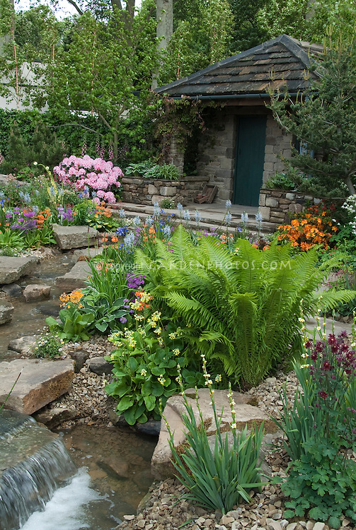 Beautiful spring garden with ferns, house, waterfall, stream water feature, trees, rocks, azalea, rhododendron, hosta, many colors, colorful, primula, aquilegia, stone patio
