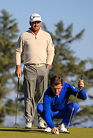 Greame McDowell (NIR) and A.P McCoy (AM) on the 11th green during Round 2 of the 2015 Alfred Dunhill Links Championship at Kingsbarns in Scotland on 2/10/15.<br /> Picture: Thos Caffrey | Golffile