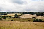 Straw bales in arable fields farming landscape Dartmoor national park, near Postbridge, Devon, England