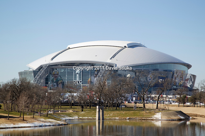 A general view of Cowboys Stadium prior to the Pittsburgh Steelers Super Bowl XLV football game against the Green Bay Packers on Sunday, February 6, 2011, in Arlington, Texas. The Packers won 31-25. (AP Photo/David Stluka)