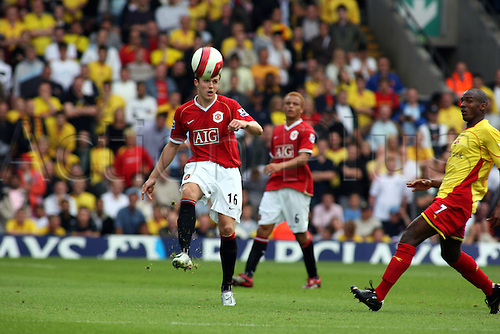 26 August 2006: Manchester United defender Michael Carrick in action during the Premiership game between Watford and Manchester United, played at Vicarage Road. United won the match 2-1. Photo: Actionplus....060826 football soccer man men