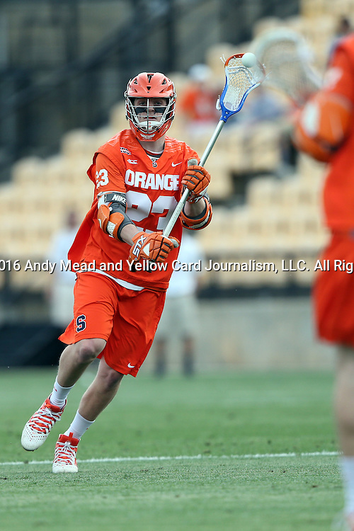 29 April 2016: Syracuse's Parker Ferrigan. The University of North Carolina Tar Heels played the Syracuse University Orange at Fifth Third Bank Stadium in Kennesaw, Georgia in a 2016 Atlantic Coast Conference Men's Lacrosse Tournament semifinal match.