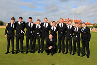 The GB&I Walker Cup Team during the preview round at the Walker Cup, Royal Liverpool Golf CLub, Hoylake, Cheshire, England. 06/09/2019.<br /> <br /> Conor Gough, Thomas Sloman, James Sugrue, Sandy Scott, Harry Hall, Alex Fitzpatrick, Thomas Plumb, Ewan Walker, Conor Purcell and Caolan Rafferty.<br /> Craig Watson (Captain) (Kneeling).<br /> <br /> Picture Thos Caffrey / Golffile.ie<br /> <br /> All photo usage must carry mandatory copyright credit (© Golffile | Thos Caffrey)