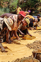 Tortiya, Ivory Coast (Cote d'Ivoire).  Sifting for Diamonds in a Small Stream.