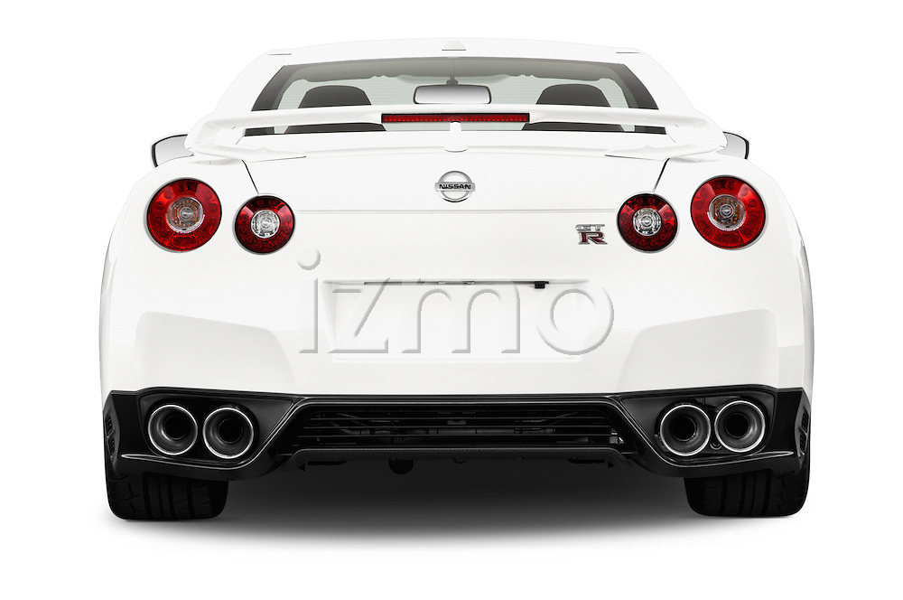 Straight rear view of a 2014 Nissan GTR Coupe