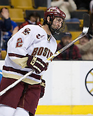 Benn Ferriero (Boston College - Essex, MA) celebrates after tying the game at 1. The Boston College Eagles defeated the Harvard University Crimson 3-1 in the first round of the 2007 Beanpot Tournament on Monday, February 5, 2007, at the TD Banknorth Garden in Boston, Massachusetts.  The first Beanpot Tournament was played in December 1952 with the scheduling moved to the first two Mondays of February in its sixth year.  The tournament is played between Boston College, Boston University, Harvard University and Northeastern University with the first round matchups alternating each year.