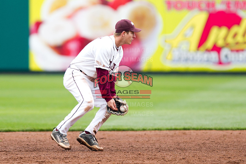 Travis McComack (31) of the Missouri State Bears attempts to turn a double play during a game against the Oral Roberts Golden Eagles on March 27, 2011 at Hammons Field in Springfield, Missouri.  Photo By David Welker/Four Seam Images