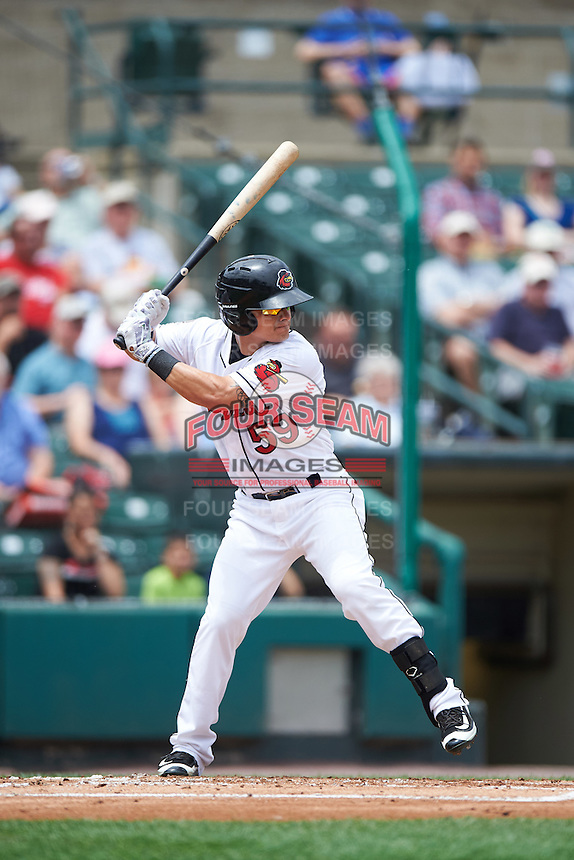 Rochester Red Wings second baseman Tommy Field (59) at bat during a game against the Columbus Clippers on June 16, 2016 at Frontier Field in Rochester, New York.  Rochester defeated Columbus 6-2.  (Mike Janes/Four Seam Images)