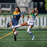 1 September 2019: University of Vermont Catamount Forward/Midfielder Alyssa Oviedo, a Sophomore from Clifton, NJ, battles Merrimack College Warrior Defender Brianna CoCo, a Freshman from Bedford, NH, in Game 3 of the TD Bank Women's Soccer Classic at Virtue Field in Burlington, Vermont. The Lady Warriors rallied in the second half to defeat the Catamounts 2-1. Mandatory Credit: Ed Wolfstein Photo *** RAW (NEF) Image File Available ***