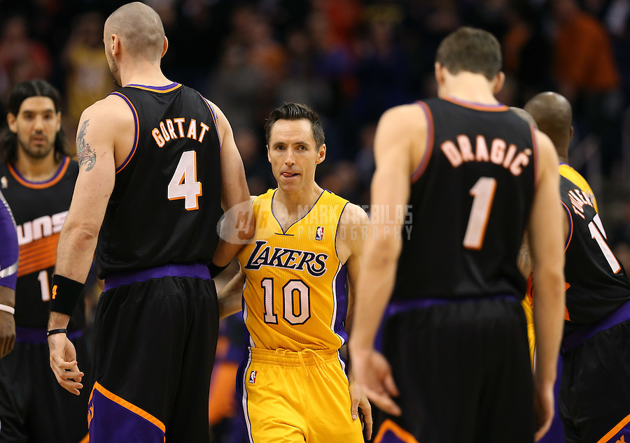 Jan. 30, 2013; Phoenix, AZ, USA: Los Angeles Lakers guard Steve Nash in the first half against the Phoenix Suns at the US Airways Center. Mandatory Credit: Mark J. Rebilas-