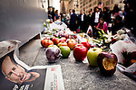 NewYork, United States, October 06, 2011..New Yorkers Pay Tribute To Former Apple CEO Steve Jobs around Manhattan in New York October 6, 2011. VIEWpress / Eduardo Munoz Alvarez. .Apple co-founder Steve Jobs died Wednesday October 5, at age 56 after a long battle with pancreatic cancer. Jobs was one of the giants of the information age, and his influence will be felt for decades to come. Here's a brief rundown of some of his greatest contributions to our increasingly tech-savvy and interconnected global society..Local media reported.