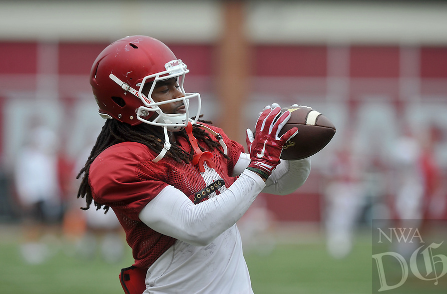 NWA Democrat-Gazette/MICHAEL WOODS &bull; @NWAMICHAELW<br /> University of Arkansas receiver Keon Hatcher runs drills during practice Saturday August 22, 2015 at Razorback Stadium in Fayetteville.