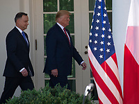 United States President Donald J. Trump, right, and President Andrzej Duda of the Republic of Poland, left, arrive to conduct a joint press conference in the Rose Garden of the White House in Washington, DC on Wednesday, June 12, 2019. <br /> Credit: Ron Sachs / CNP/AdMedia