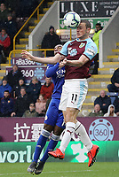 Burnley's Chris Wood vies for possession with Leicester City's Ricardo Pereira<br /> <br /> Photographer Rich Linley/CameraSport<br /> <br /> The Premier League - Burnley v Leicester City - Saturday 16th March 2019 - Turf Moor - Burnley<br /> <br /> World Copyright © 2019 CameraSport. All rights reserved. 43 Linden Ave. Countesthorpe. Leicester. England. LE8 5PG - Tel: +44 (0) 116 277 4147 - admin@camerasport.com - www.camerasport.com