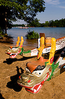 Detail close up of the decorated dragon head during the Charlotte Dragonboat Association racing on Lake Norman in NC.