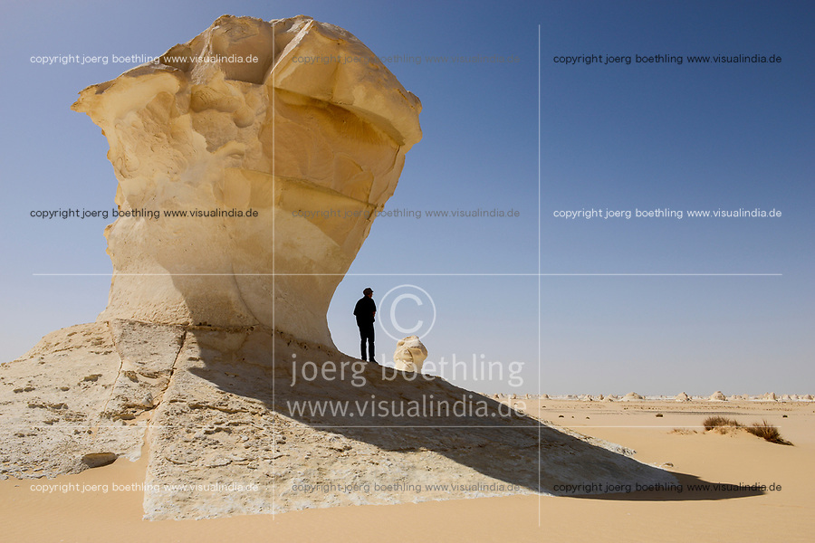 EGYPT, Farafra, Nationalpark White Desert , mushroom like chalk rocks shaped by wind and sand erosion/ AEGYPTEN, Farafra, Nationalpark Weisse Wueste, durch Wind und Sand geformte Kalkfelsen